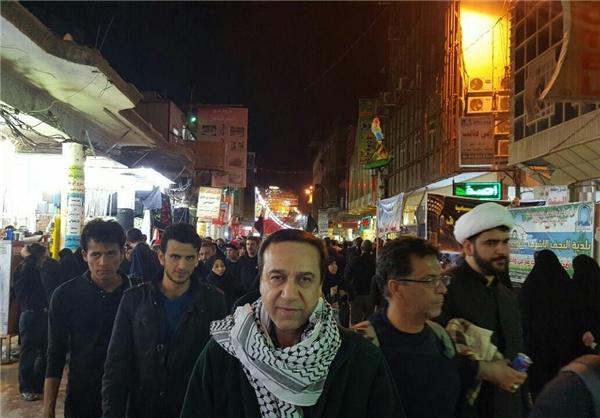 عکس/ خواننده سرشناس ایرانی با چفیه در نجف حاضر شد