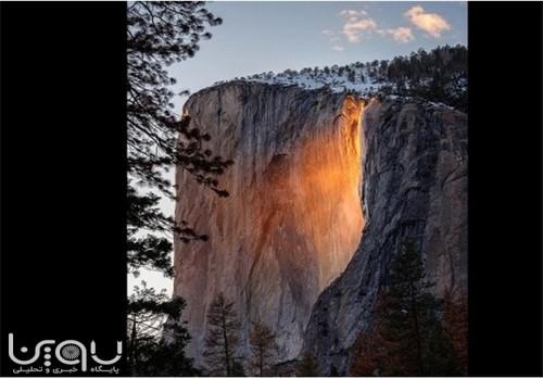 آبشار آتش در کالیفرنیا